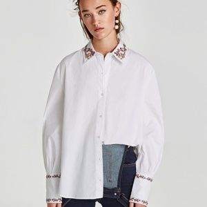 Zara Trafaluc Flower Embroidered Button Up Blouse